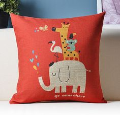 Decorative Cotton Linen Throw Cushion Case, Printed Pillow Case, Couch Pillows,Children Pillows,Fun Pillows, Elephant Go Somewhere by puresupply on Etsy https://www.etsy.com/listing/236553824/decorative-cotton-linen-throw-cushion