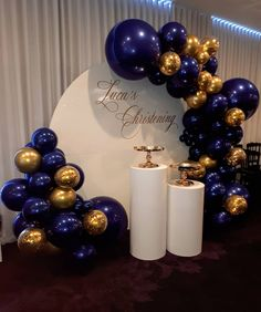 Luca's Birthday and Christening. Just cant go wrong with custom navy and gold xo Hoping Luca and his family had a wonderful day Balloons Props and backdrop Venue Gold Confetti Balloons, White Balloons, Latex Balloons, Marble Balloons, Birthday Balloon Decorations, Graduation Decorations, Birthday Balloons, Blue Party Decorations, Birthday Party Background