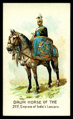 Cigarette Card - Drum Horse, Empress of Indias Lancer… British Soldier, British Army, British Indian, Army Drawing, Military Cards, War Drums, British Uniforms, Empire, Horse Art