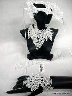Collection féérie, dentelle, broderie, parure pour mariée, masque vénitien,  par AMD à Coudre