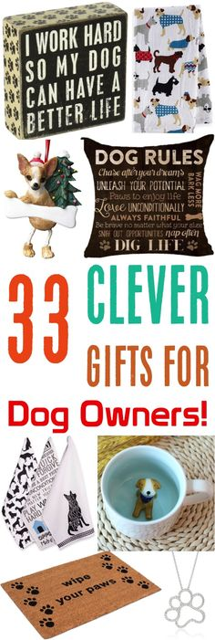 Gift Ideas for Dog Lovers!  Such fun gifts that all dog owners and Fido fanatics LOVE!