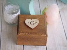 Rustic Stained Monogram Ring Bearer Box  with Handstamped Hearts (Pillow Alternative) by PNZ Designs $17.50