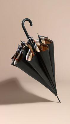 Oversize-Check Lined Walking Umbrella Black Camel   Burberry