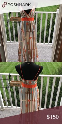 Silk Dress by Saltaire Neiman Marcus Shades of orange, brown and steel.. long strappy dress. saltaire Dresses Maxi
