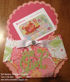 CTMH Cricut Artiste Diaper Card using Lucy paper