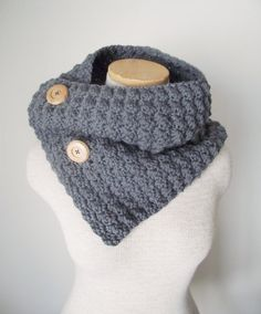 Alpaca Wool Blend Button Up Cowl in Cobblestone by MegansMenagerie, $48.00