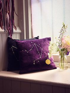 Star Sign Pillows | Plush pillows with stitched zodiac sign on the front of each.   **Special Note:  These pillows will come assorted, and you will receive either the royal purple color currently online or a dark blue color.  *By Catherine