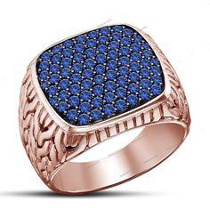 Men's 1.54 Carat Blue Sapphire 14K Rose Gold Finish Wedding Band Ring 925 Silver…