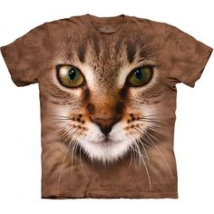 New Big STRIPED CAT FACE T-Shirt #TheMountain #GraphicTee