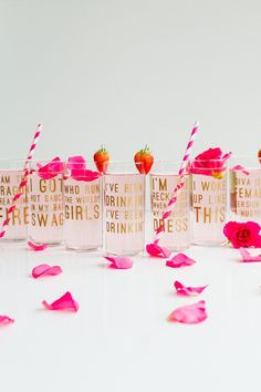 so fun for a girl's night! And they can keep the glass as a party favor! Beyonce Lemonade Lyric Quotes Glasses Cocktails Drinks Hen Party Bachelorette Song Fun Girl Power Queen B DIY Cricut Tutorial Window Beyonce Party, Beyonce Birthday, Party Girl Quotes, Beyonce Lyrics, Beyonce Quotes, Carton Invitation, Idee Diy, Party Accessories, Party Planning
