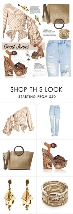 """Good Jeans"" by olga1402 ❤ liked on Polyvore featuring Johanna Ortiz, Topshop, Michael Kors, Sergio Rossi, Oscar de la Renta, Sole Society, denim and jeans"