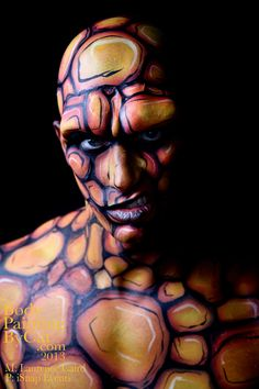 The Thing bodypainted fantastic 4 stare facepaint by Bodypaintingbycatdot on deviantART