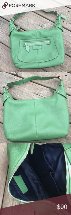 "EUC green leather Coach shoulder bag Pebbled finish green leather shoulder bag by Coach. Hardware is silvertone.  Approx measurements:  12"" wide, 8 1/4"" tall and 4"" deep. Coach Bags Shoulder Bags"