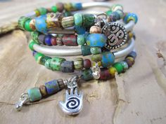 Multi Color Picasso Bead Boho Wrap Bracelet with Om and Hand charm memory wire antique silver tile beads