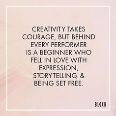 Morning #Motivation: Creativity takes courage, but behind every performer is a…