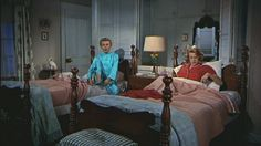 """""""White Christmas"""" movie house - Vera-Ellen was 33 and 7 years older, but she played Betty's little sister Judy.  Or """"her little chick"""" as she referred to herself.   She reportedly suffered from anorexia, which is why she is wearing turtlenecks and some padding with all of her costumes in this film.   Pinned from Hooked on Houses by Julia, 12-25-2015."""
