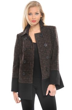Casey Jacket Coat In Brown Plaid.