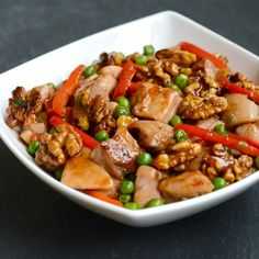 Chinese Walnut Chicken--serve over a bed of rice.  The very best part of this is the candied walnuts.