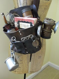 Steampunk Leather Satchel Complete with Accessories Key Chain, Mug, Medicine, Knife, Map Case, Compass, Glasses, Lantern, Book Time Machine
