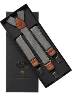 Scotch & soda herringbone suspenders. This leather matches the color of my Clarks! Finally.