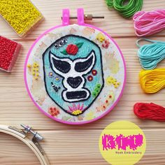 DIY Beginners Starter Embroidery Kit: Lucha Libre | Embroidery Kit with Pattern | Embroidery Pattern, Modern Embroidery Kit, Embroidery Hoop Brush Embroidery, Embroidery Needles, Modern Embroidery, Beaded Embroidery, Embroidery Patterns, Printing On Fabric, Needlework, Hoop, Etsy Shop