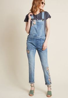351b31fac9 Driftwood Grow the Distance Embroidered Overalls Enteritos De Jean