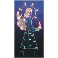 Lighted angel outdoor yard decoration lighted christmas angels silhouette angel lighted led wire frame shape aloadofball Image collections