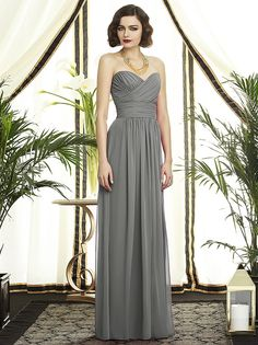 Full length strapless lux chiffon dress with sweetheart neckline and criss cross draped bodice. Slight shirring at front skirt.  http://www.dessy.com/dresses/bridesmaid/2896/