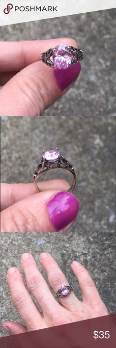 """Real Silver Vintage Handmade Ring w/ Pink Pink Tourmaline or Sapphire gemstone set in real Silver. Handmade with the engraving """"Nealey"""" or """"Healey"""" on one side of the inside band, and 1 Gram 925 on the other. Seems to have been specially made for someone  and looks to be an antique. Smaller ring, probably size 6 1/2- 7 Jewelry Rings"""