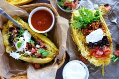 Spaghetti Squash Street Tacos, the healthy alternative. Pinning for a great idea - would sub my own preferences for ingredients.