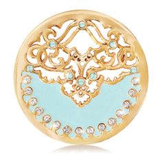 Nikki Lissoni Gold-tone Clear Swarovski Elements Enamel Blue Velvet Coin (Medium)