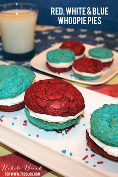 Red, White & Blue Whoopie Pies - perfect for Memorial Day and 4th of July!