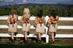 Love this bridesmaids photo...super cute outfit and love the colors of the flowers...Rustic wedding