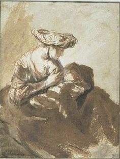 Mujer amamantando a su hijo Autor: Rembrandt Harmenszoon van Rijn (1606 - 1669) Ubicación: Museo del Louvre