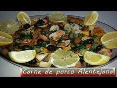 Carne de porco alentejana - YouTube Portuguese Food, Portuguese Recipes, Pickles, Recipe Sites, Scallops, Dinner Tonight, Pork Recipes, Paella, Manual
