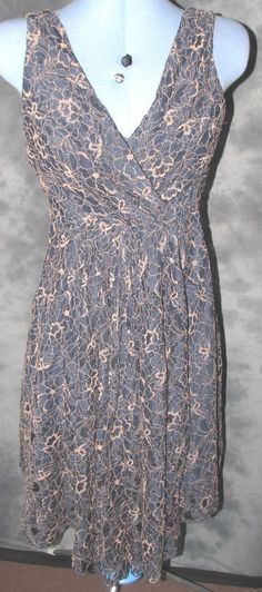 Traffic People,ladies,size 12,blue,floral lace,v neck,strapy,skater Formal,Dress
