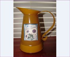 HARVEST Sunflower Metal Watering Can, Metal Pitcher with Original Paper Seeds Label by BackStageVintageShop on Etsy