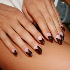 So sleek & chic! Graphic #nailart design at @cushnieetochs using @louboutinworld. #nyfw #nails #manicure