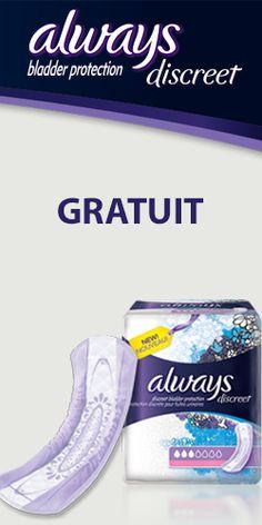 Gratuit – nouvelles serviettes Always Discreet. http://rienquedugratuit.ca/echantillon-gratuit/gratuit-nouvelles-serviettes-always-discreet/