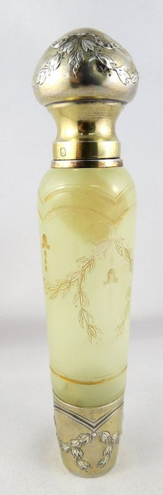 French (art nouveau) yellow art glass with sterling silver lid (by Daum Nancy)
