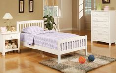 F9008 - White Mission Style Youth Twin Bed - Furniture2Go