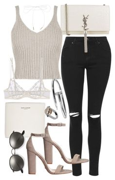 """""""Untitled #20217"""" by florencia95 ❤ liked on Polyvore featuring Topshop, Schutz, Yves Saint Laurent, WearAll, La Perla, Lilou, Ray-Ban and Jil Sander"""