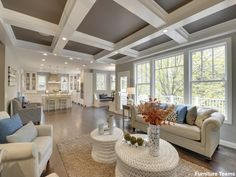 Looking for coffered ceiling design ideas and photos? Access the largest collection of coffered ceiling from top interior designers. Types Of Ceilings, Wood Ceilings, Coffered Ceilings, High Ceilings, White Furniture, Living Room Furniture, Living Rooms, Kitchen Living, Diy Kitchen