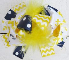 Yellow Navy Anchor Bow