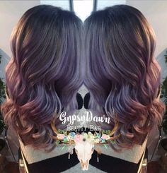 Violet pastel balayage ombré. Hair by Gypsy Dawn stylist ConniMaree. Using muted mauve instamatic with pure Violet pigment from wella