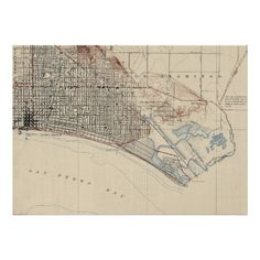 Vintage Map of Long Beach California (1923) Poster