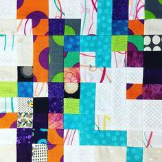 my new logcabin style  7-6  1stStage 了!! 100×100 を 100枚 5か月かかったけど、できた〜✨ ここからがスタートな気が、かなりするけれども。。 #NOKnockOutNOKO#fabricprinting #patchwork#パッチワーク#生地にプリントしてくれる人が欲しい#myWork#わたしのあたまのなか#どなたかこの発色のまま生地プリントしてくれないだろうか#コラージュ#colourful#scrapquilt#logcabin
