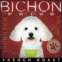 af201575d882ac BICHON FRISE coffee company vintage style dog artwork on gallery wrapped  canvas… Coffee Company