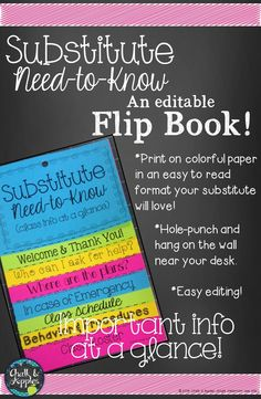Substitute Need-to-Know Flipbook - Keep all the info a sub in your classroom needs in one handy booklet!