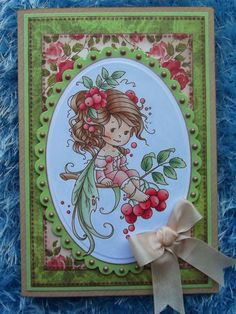 Wee stamps Rowan Fairy coloured with Copics, paper from Marianne Design French Roses pad
